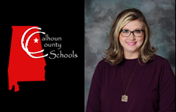 emily smith's image beside calhoun county schools logo