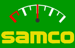 Fuel gauge displayed over SAMCO logo.
