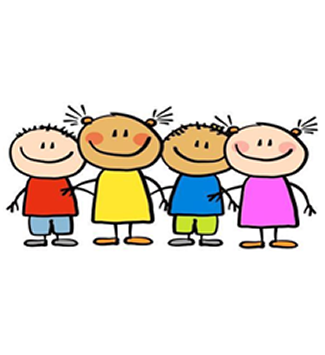 Cartoon children on white background
