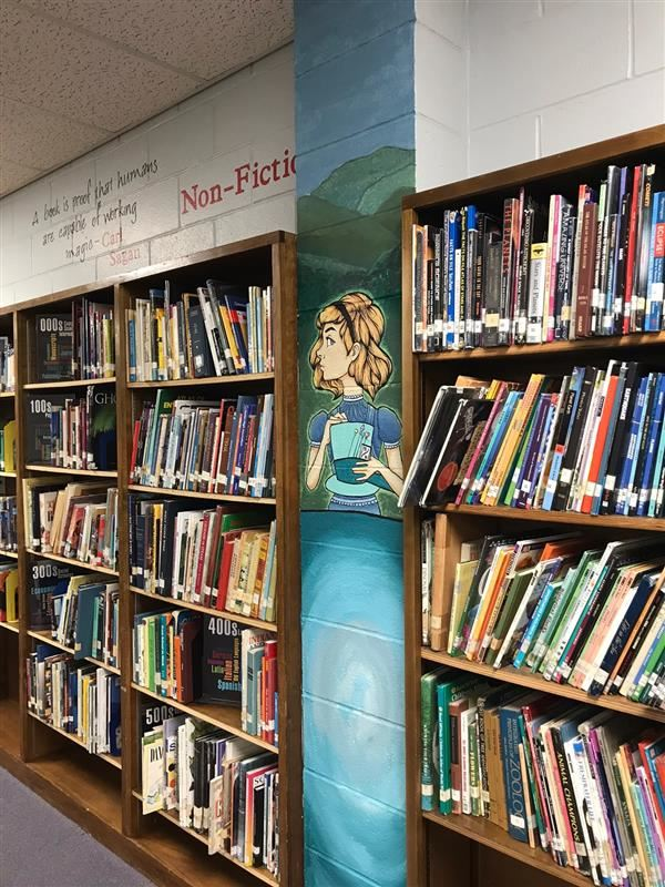 Wall murals and artwork throughout the PV Library book shelves