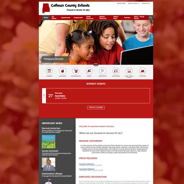 Screenshot of new CCBOE Homepage