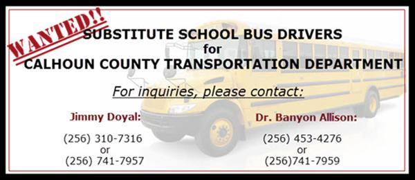 bus drivers needed information banner