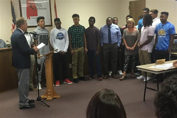 Weaver High School Track Team being recognized at the July 18 2017 Board Meeting